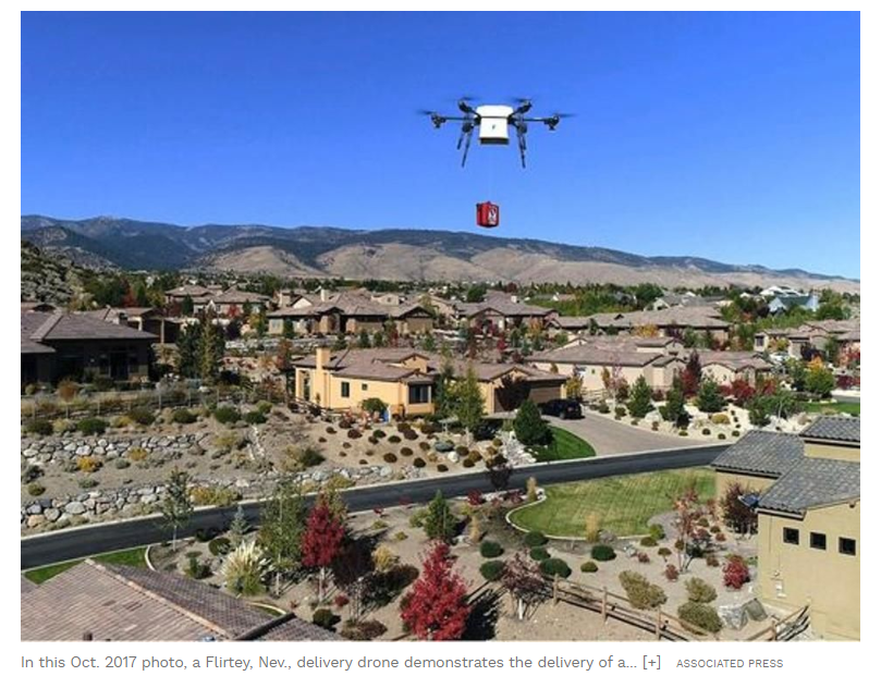 drone delivering
